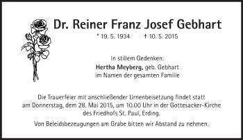 Zur Gedenkseite von Reiner Franz Josef  Gebhart