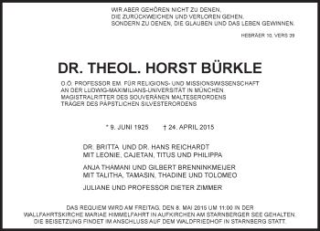 Zur Gedenkseite von Horst Bürkle