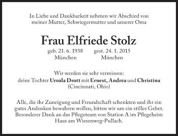 Zur Gedenkseite von Elfriede Stolz