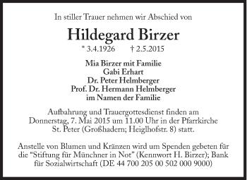 Zur Gedenkseite von Hildegard Birzer
