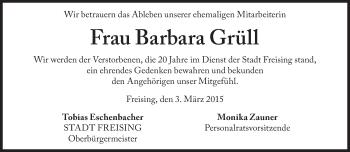 Zur Gedenkseite von Barbara Grüll