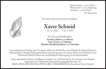 Zur Gedenkseite von Xaver Schmid