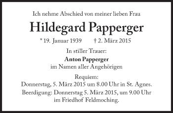 Zur Gedenkseite von Hildegard Papperger
