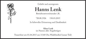 Zur Gedenkseite von Hanns Lenk