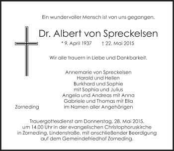 Zur Gedenkseite von Albert  von Spreckelsen