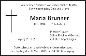 Zur Gedenkseite von Maria Brunner