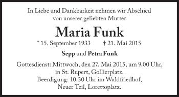 Zur Gedenkseite von Maria Funk