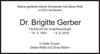 Zur Gedenkseite von Dr. Brigitte Gerber