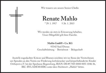 Zur Gedenkseite von Renate Mahlo