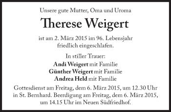 Zur Gedenkseite von Therese Weigert