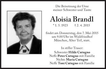 Zur Gedenkseite von Aloisia Brandl