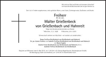 Zur Gedenkseite von Walter Grießenbeck von Grießenbach und Hahnreit