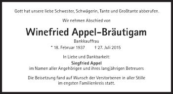 Zur Gedenkseite von Winefried Appel-Bräutigam