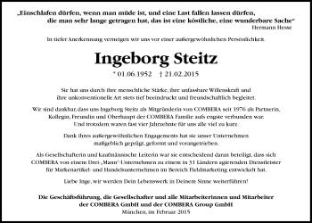 Zur Gedenkseite von Ingeborg Steitz