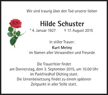 Zur Gedenkseite von Hilde Schuster