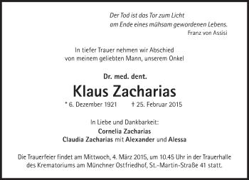Zur Gedenkseite von Klaus Zacharias