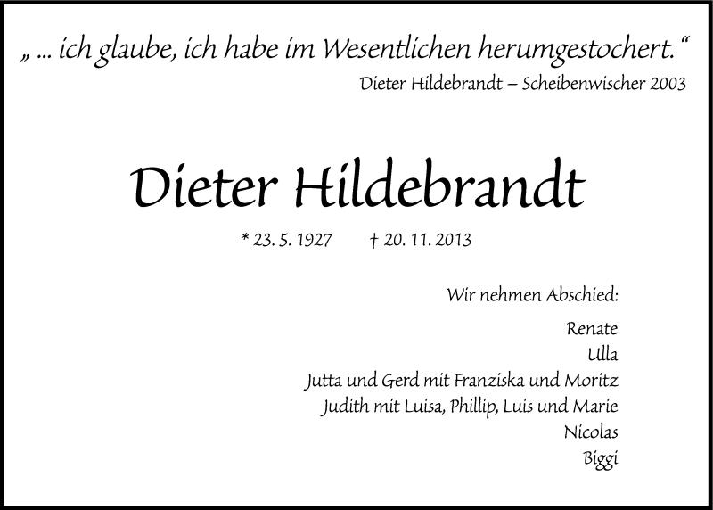 Anzeige Von Dieter Hildebrandt Sz Gedenkende