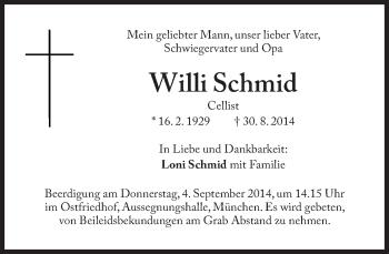 Zur Gedenkseite von Willi Schmid