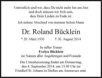 Zur Gedenkseite von Roland Bücklein