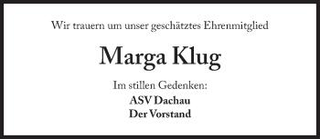 Zur Gedenkseite von Marga Klug
