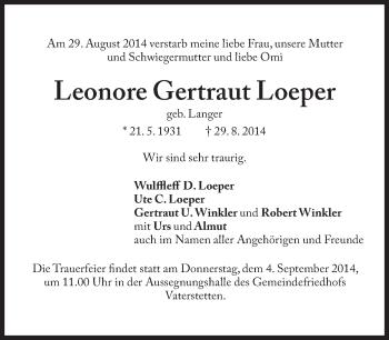 Zur Gedenkseite von Leonore Gertraut Loeper