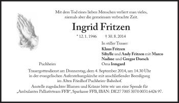 Zur Gedenkseite von Ingrid Fritzen