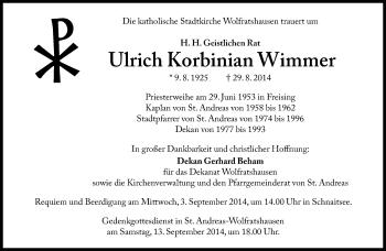Zur Gedenkseite von Ulrich Korbinian Wimmer