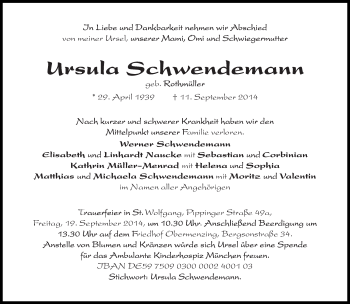 Zur Gedenkseite von Ursula Schwendemann