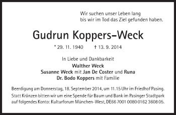 Zur Gedenkseite von Gudrun Koppers-Weck