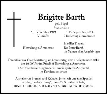 Zur Gedenkseite von Brigitte Barth
