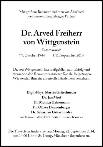Zur Gedenkseite von Arved Freiherr von Wittgenstein