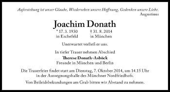 Zur Gedenkseite von Joachim Donath
