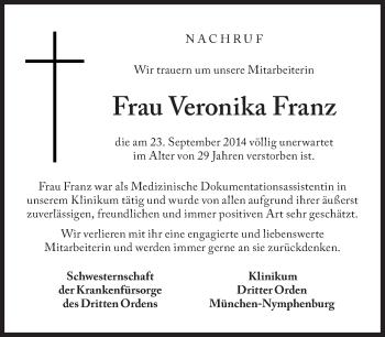 Zur Gedenkseite von Veronika Franz
