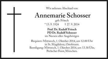 Zur Gedenkseite von Annemarie Schosser