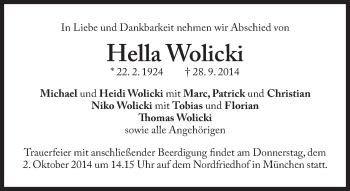 Zur Gedenkseite von Hella Wolicki