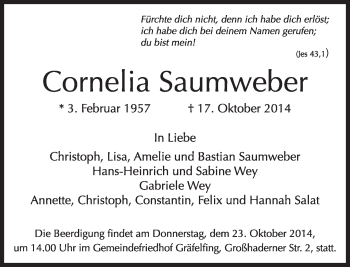 Zur Gedenkseite von Cornelia Saumweber