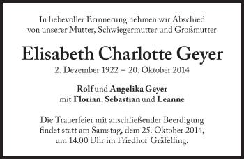 Zur Gedenkseite von Elisabeth Charlotte Geyer