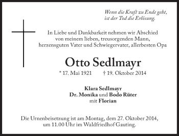 Zur Gedenkseite von Otto Sedlmayr