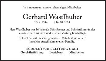 Zur Gedenkseite von Gerhard Wastlhuber