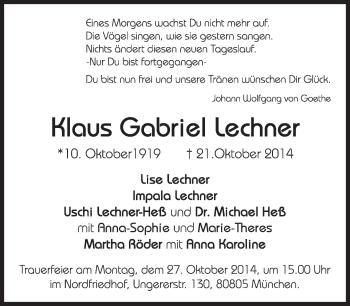 Zur Gedenkseite von Klaus Gabriel Lechner