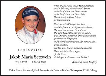 Zur Gedenkseite von Jakob Maria Setzwein