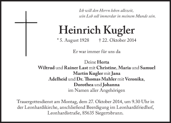Zur Gedenkseite von Heinrich Kugler