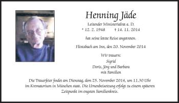 Zur Gedenkseite von Jäde Henning