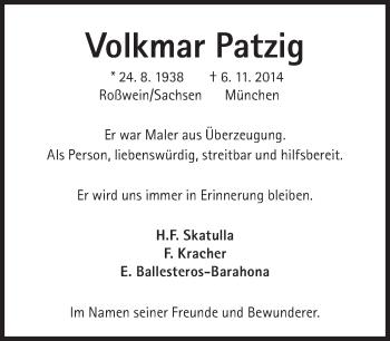 Zur Gedenkseite von Volkmar Patzig