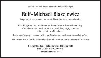 Zur Gedenkseite von Rolf-Michael Blazejewicz