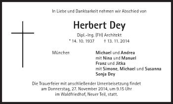Zur Gedenkseite von Herbert Dey