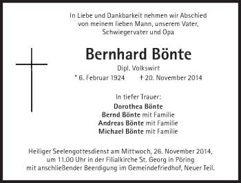 Zur Gedenkseite von Bernhard Bönte