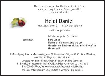 Zur Gedenkseite von Heidi Daniel