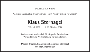 Zur Gedenkseite von Klaus Sternagel