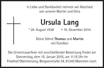 Zur Gedenkseite von Ursula Lang